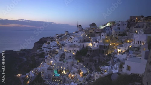 dusk at the village of oia on the popular island of santorini, greece