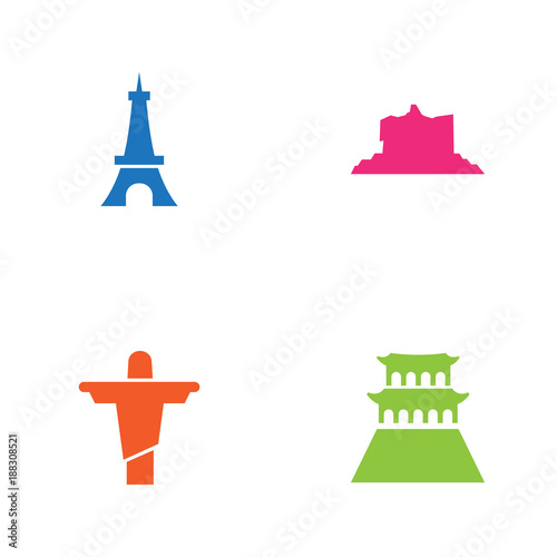 Set Of 4 Landmarks Icons Set.Collection Of Beijing, Rio, Paris And Other Elements.