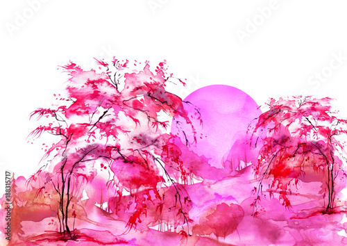 Foto op Canvas Candy roze Watercolor forest, red, bearded silhouette of trees, bushes, willow, birch. Field. Country view. Postcard, logo, card. Night, sunrise, sunset, pink silhouette of trees. Art illustration.