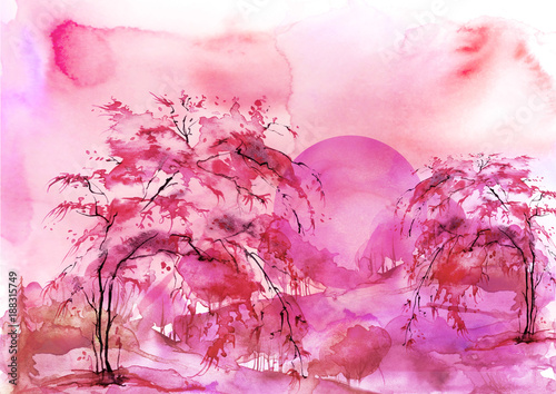 Foto op Aluminium Lichtroze Watercolor forest, red, bearded silhouette of trees, bushes, willow, birch. Field. Country view. Postcard, logo, card. Night, sunrise, sunset, pink silhouette of trees. Art illustration.
