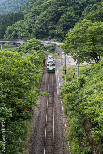 Fotobehang Spoorlijn Tadami railway line in summer season at Fukushima prefecture.