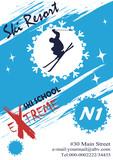 Poster for ski school.Winter resort - 188323580