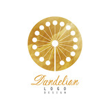 Abstract logo design with dandelion on golden rounded texture. Luxury flower. Decorative vector element for banner, flyer or poster of beauty salon