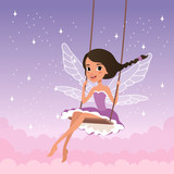 Cute fairy on swing. Magical creature from fairy tale. Cartoon girl character with wings wearing purple dress. Beautiful starry sky on background. Flat vector design
