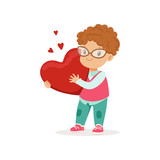 Cute little boy in glasses holding red heart, Happy Valentines Day concept, love and relationships vector Illustration