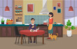 The woman is cooking, and the man is having lunch. Kitchen interior. Vector illustration.