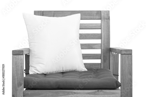 Wood chair with cushion isolated on white background