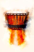 "Постер, картина, фотообои ""Original african djembe drum with leather lamina and softly blurred watercolor background."""