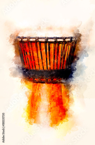 Original african djembe drum with leather lamina and softly blurred watercolor background.