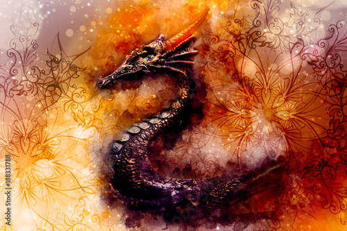 ancient dragon and ornament and Softly blurred watercolor background.
