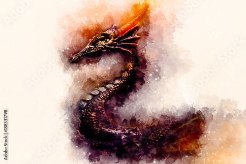 ancient dragon and Softly blurred watercolor background.