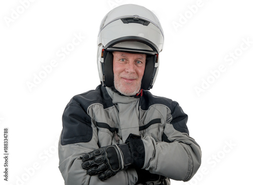 Foto Murales senior rider with white helmet isolated on the white background