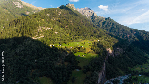 Fotobehang Zwart Aerial view in the canton Grisons in Switzerland