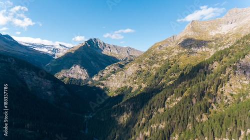 Fotobehang Blauw Aerial view in the canton Grisons in Switzerland