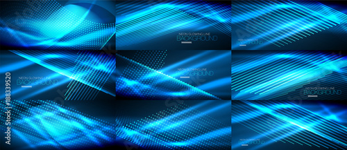 Set of blue neon smooth wave digital abstract backgrounds - 188339520