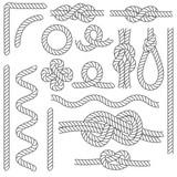Rope Knots Borders Black Thin Line Icon Set. Vector - 188341739