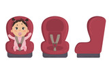 Babygirl sitting in automobile seat. Red car chair for baby from different angles. Side and front view of carseat. Vector on white background
