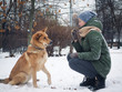 Girl to train a dog