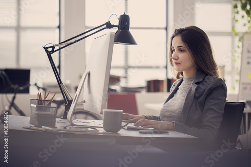 Working woman in front of computer