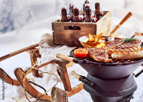 Foto Murales Winter barbecue outdoors in the snow