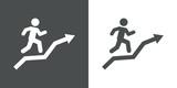 Icono plano corredor en flecha gris y blanco - 188348576