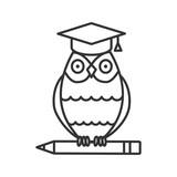 Owl in graduation cap on pencil linear icon