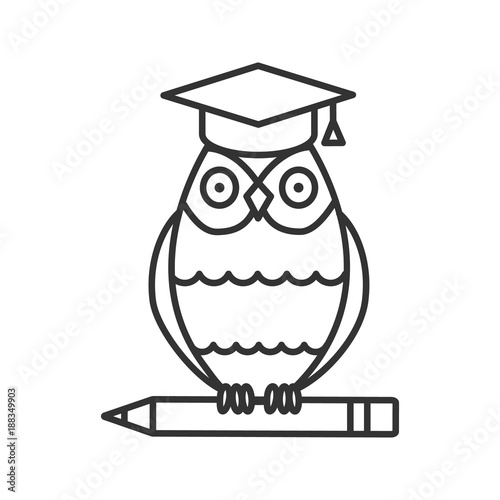 Owl in graduation cap on pencil linear icon