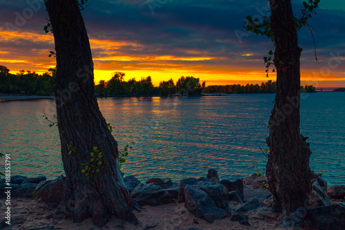 Scenic nature sunset landscape