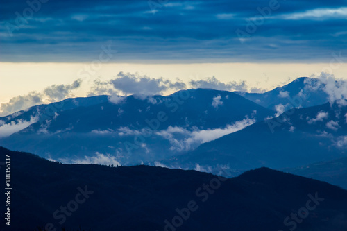 Keuken foto achterwand Natuur Clouds above Apennine mountains in Italy. Nature landscape