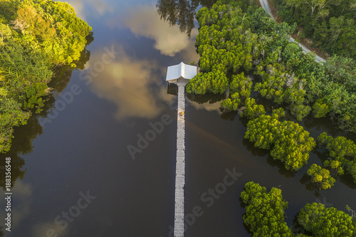 Foto op Canvas Natuur Beautiful cloud reflection in water and jetty in Malaysia