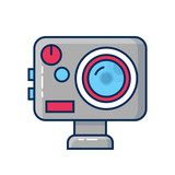 Action camera icon. Extreme cam embleme. Vector illustration. - 188379590