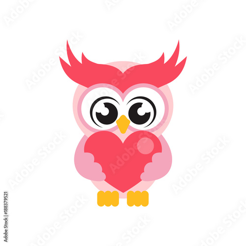 cartoon cute owl with heart