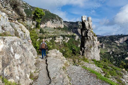 Fotobehang Napels Sentiero degli Dei (Italy) - Trekking route from Agerola to Nocelle in Amalfi coast, called