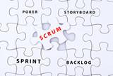 Scrum mit einigen Schlagwörtern aus dem Projektmanagement