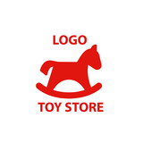 vector logo toy store, tylized toy wooden horse a logotype for the company