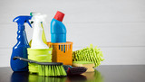 Cleaning concept with supplies - 188384950