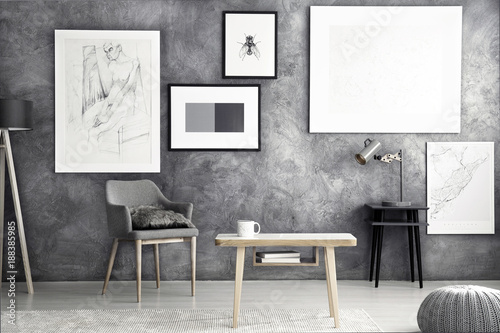 Posters in grey flat interior