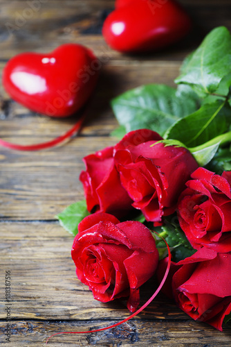Concept of Valentine's day with red roses