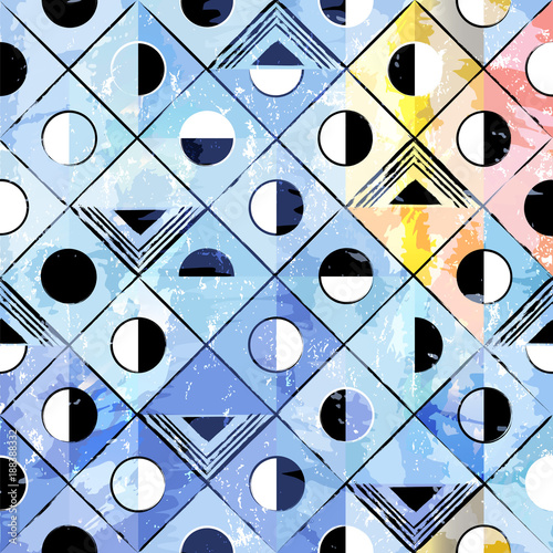 Fotobehang Abstract met Penseelstreken abstract pattern background, with triangles, squares, circles, paint strokes and splashes
