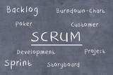 SCRUM mit einigen Schlagwörter aus dem Projektmanagement