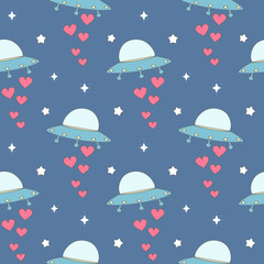 cute cartoon colorful ufo with hearts seamless vector pattern background illustration