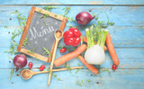 food ingredients,vegetables and chalkboard for menu on old wooden table, flat lay