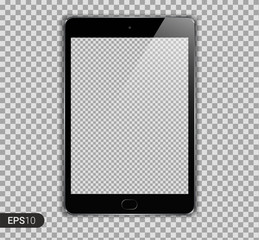 New Realistic Tablet PC Computer with Transparent Screen Isolated on Background. Can Use for Template, Project, Presentation or Banner. Brand Pad. Electronic Gadget, Device Set Mock Up. Vector.