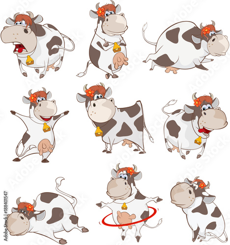 Deurstickers Babykamer Set of Vector Cartoon Illustration. A Cute Cow for you Design