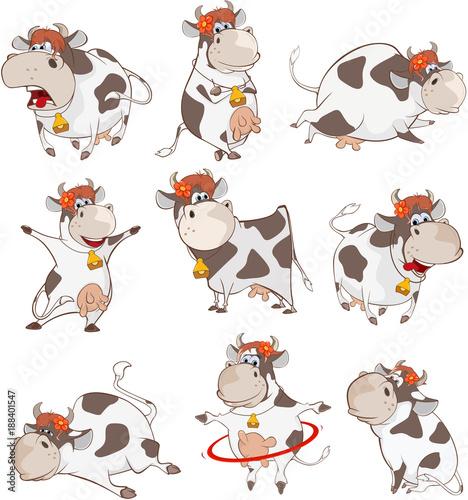 Papiers peints Chambre bébé Set of Vector Cartoon Illustration. A Cute Cow for you Design