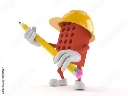 Brick character holding pencil