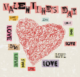 Valentine's day, heart and love illustration, grunge style, vector