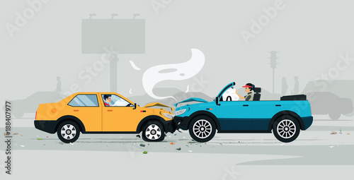 Car accident on the road with air bag helps prevent