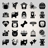 Animals vector icon set. bowl, cat food, bone and bear
