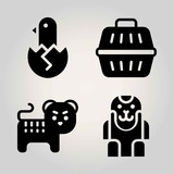 Animals vector icon set. tiger, animal carrier, ape and chicken
